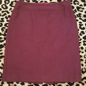 J. Crew Pencil Skirt in Double-Serge Wool Red Wine